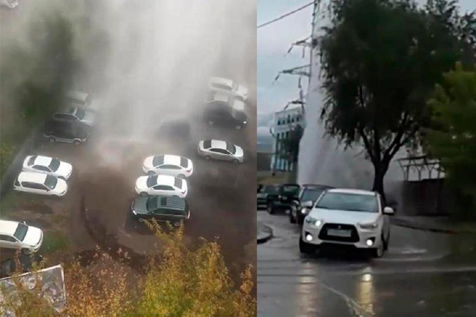 Еще одно ЧП в Алматы: на проспекте Райымбека прорвало трубу с горячей водой