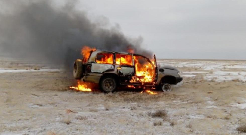 Браконьеры подожгли свой Land Cruiser, убегая от инспекторов