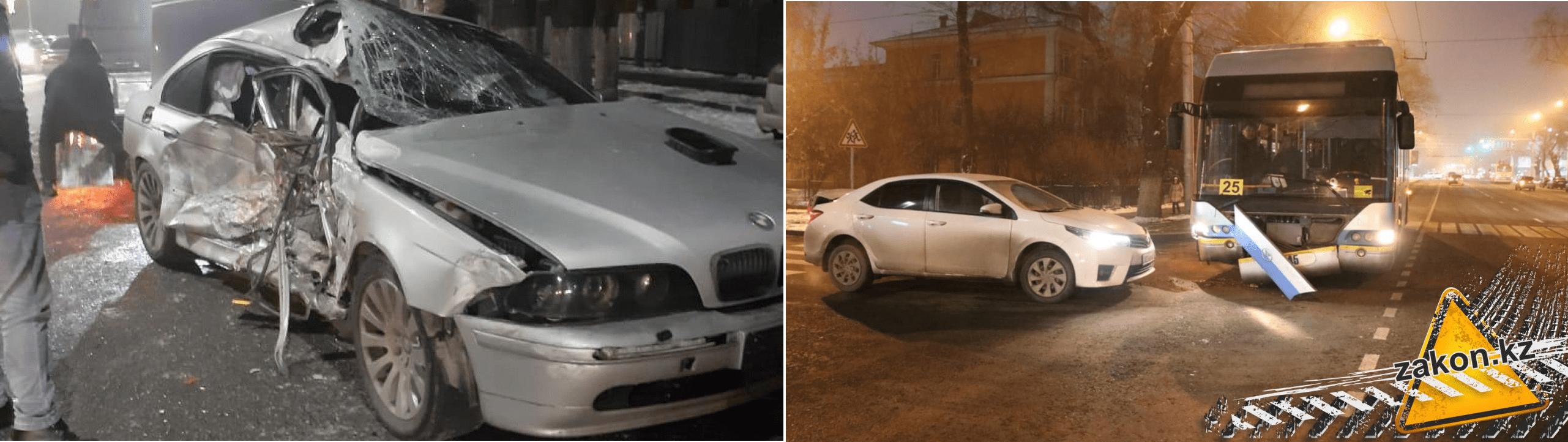 Два автомобиля столкнулись с общественным транспортом в Алматы