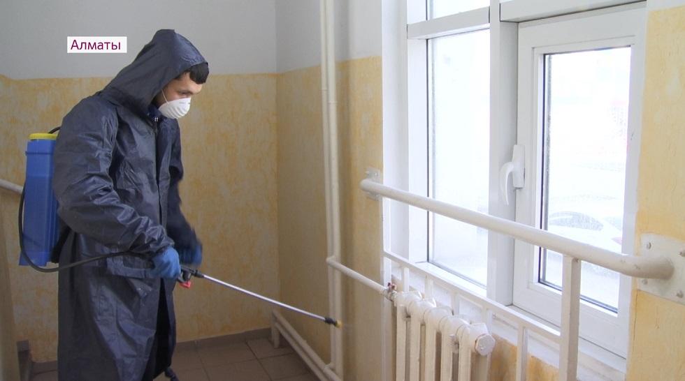 Санитарная обработка улиц и подъездов прошла в Наурызбайском районе Алматы