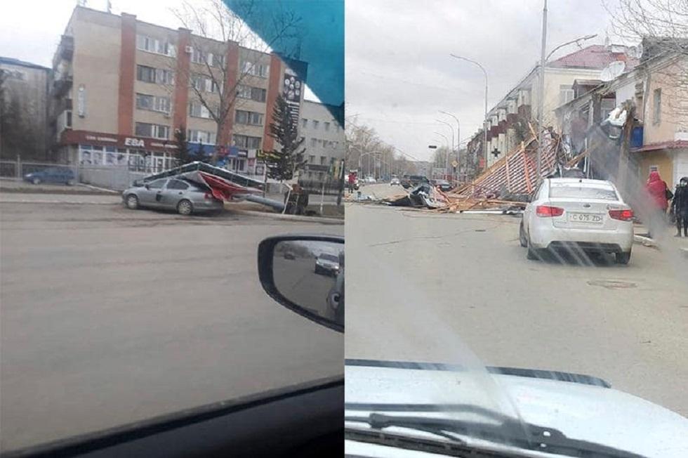 Шторм в Кокшетау: снесены три остановки, 9 человек пострадали