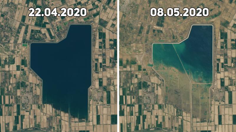 Фото до и после наводнения в Мактаарале показало NASA