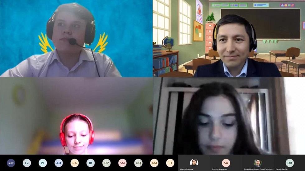 """Казахстанские школьники показали знания английского языка на онлайн-уроке """"Пересекая границы"""""""