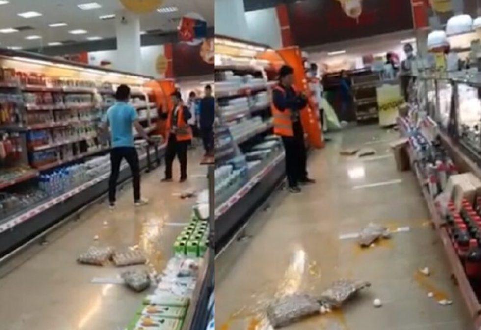 Жительница Нур-Султана устроила погром в супермаркете