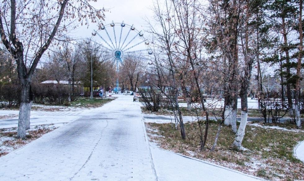 Первый снег выпал в Павлодаре