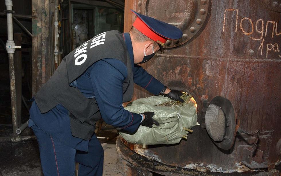 Более 100 кг наркотиков сожгли полицейские СКО