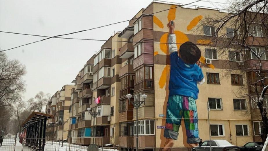 Алматинцев восхитил реалистичный мурал