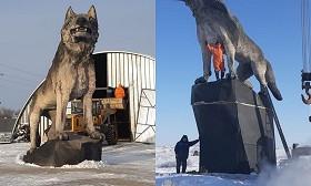 Огромный памятник волку установили в Карагандинской области