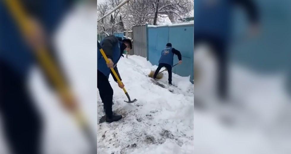 Волонтеры молодежных ресурсных центров вышли на уборку снега в Алматы