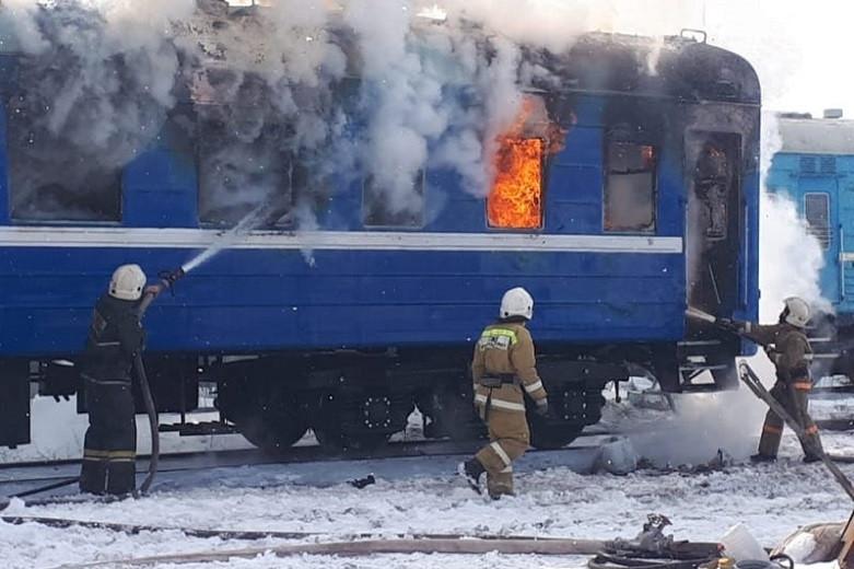 В Экибастузе сгорел пассажирский вагон